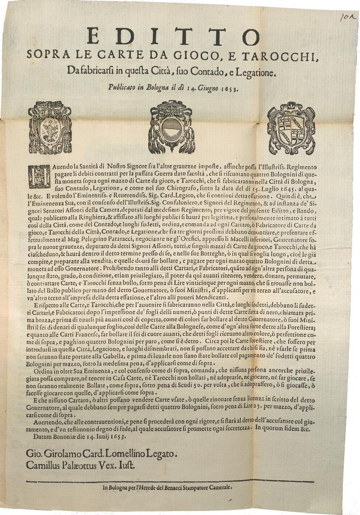 Il successo del tarocchino bolognese – 1725. Quando a ...
